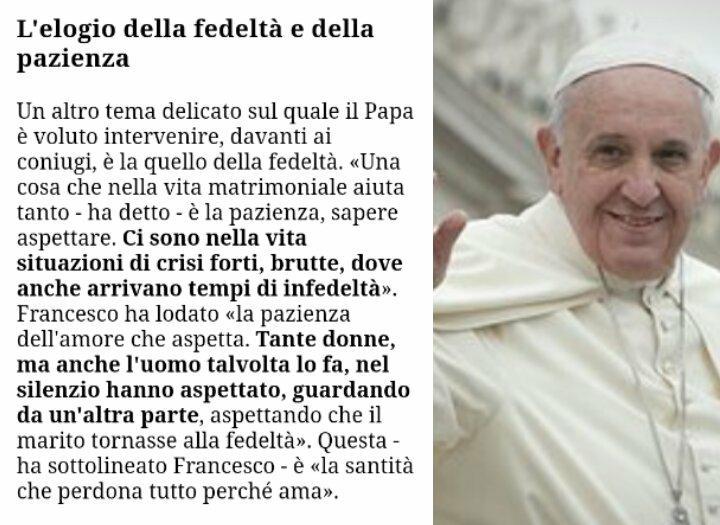 Il Papa, l'amore, il tradimento e la fedeltà